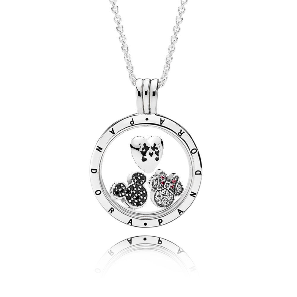 Disney Sparkling Mickey Mouse PANDORA Locket Necklace Set