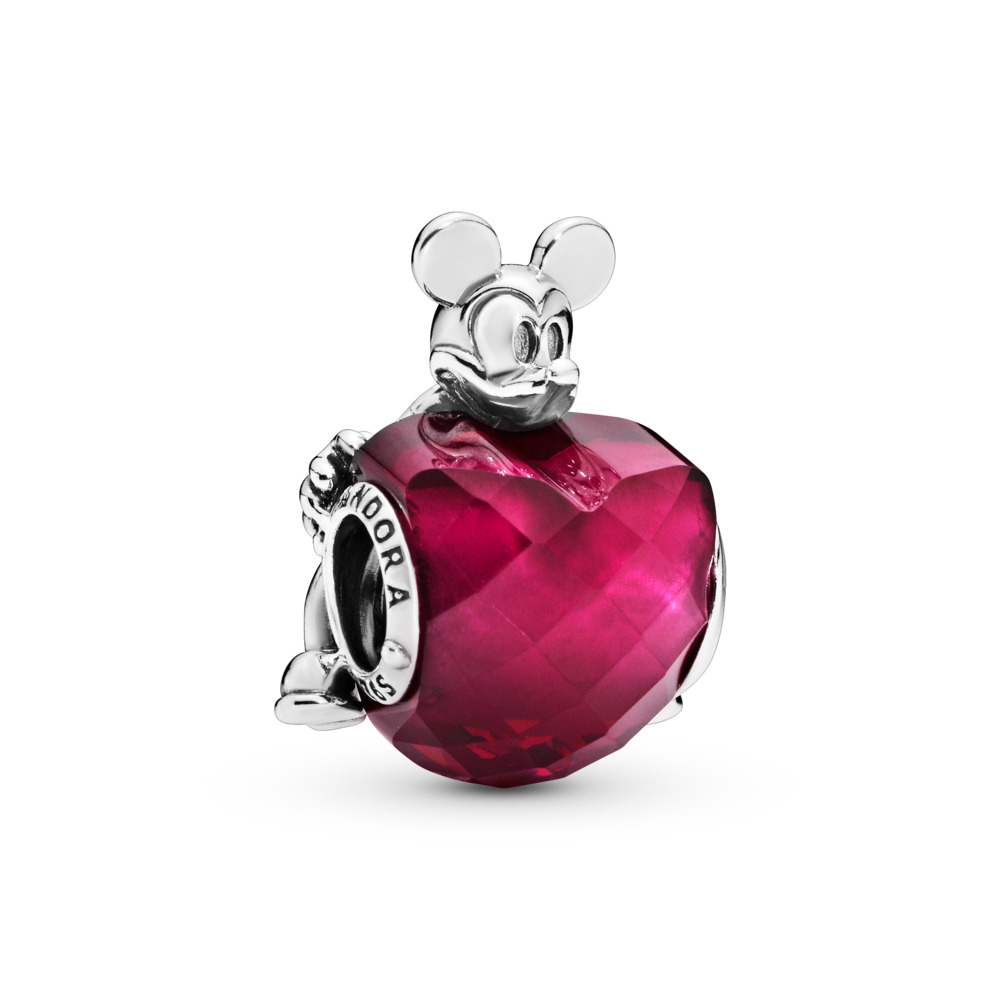 Disney, Mickey Love Heart Charm, Fuchsia Rose Crystal, Sterling silver, Red, Crystal - PANDORA - #797168NFR