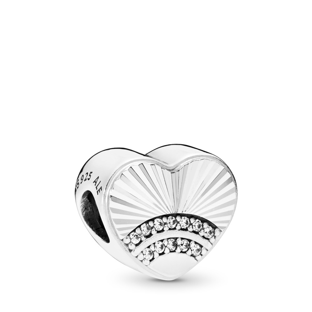 Fan of Love Charm, Clear CZ, Sterling silver, Cubic Zirconia - PANDORA - #797288CZ