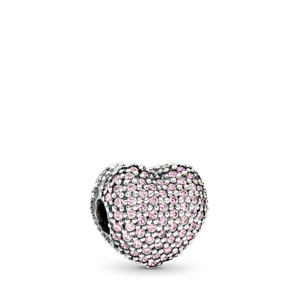 b4c88f32e Pavé Open My Heart Clip, Pink CZ, Sterling silver, Pink, Cubic Zirconia
