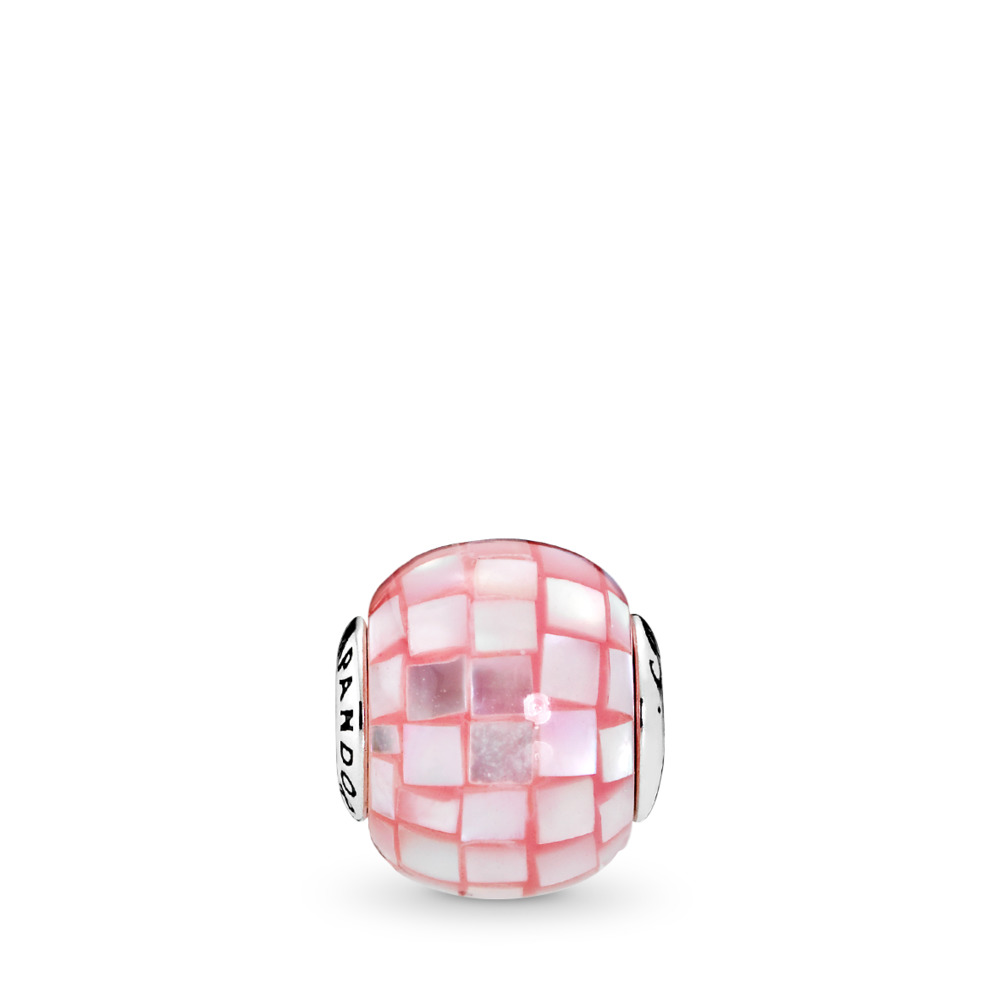 COMPASSION Charm, Pink Mother-of-Pearl Mosaic, Sterling silver, Silicone, Pink, Mother of pearl - PANDORA - #796078MMP