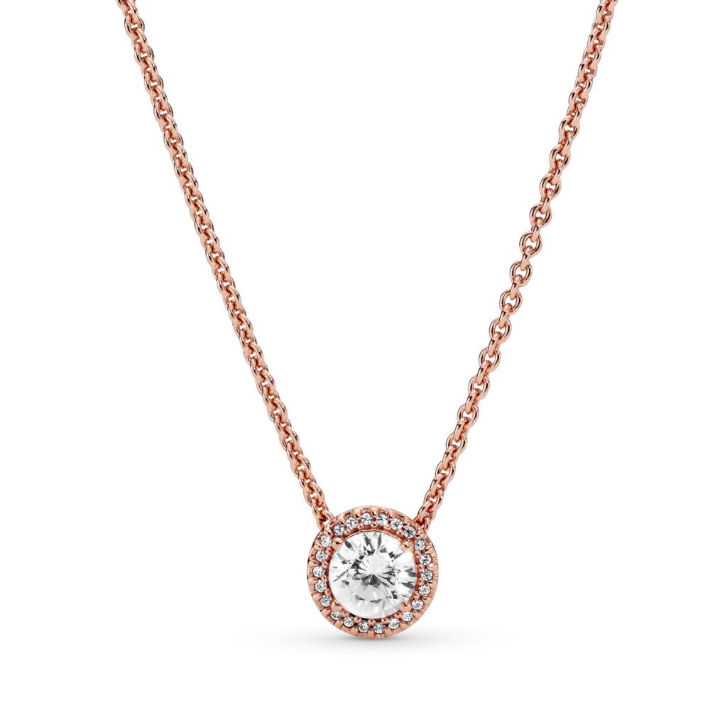 Classic Elegance Necklace, PANDORA Rose™ & Clear CZ, PANDORA Rose, Cubic Zirconia - PANDORA - #386240CZ