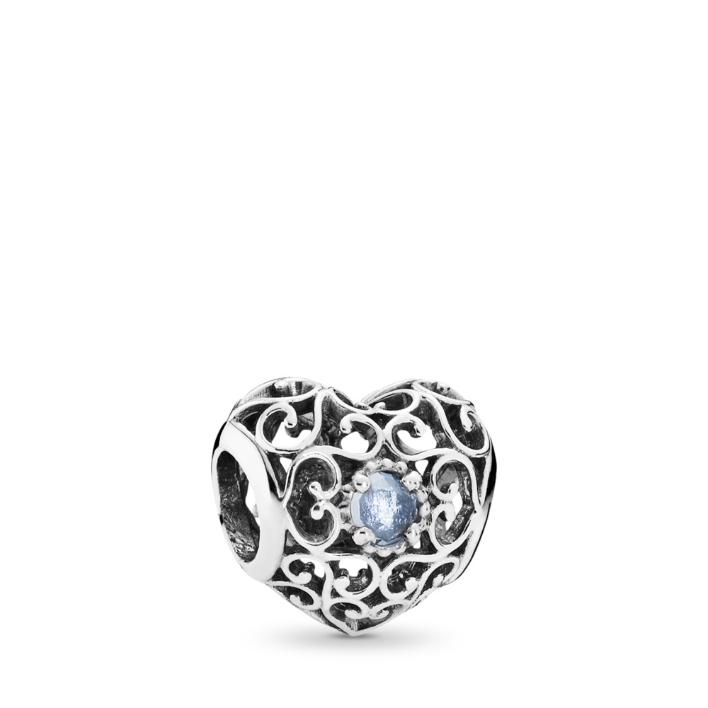 March Signature Heart Charm, Aqua Blue Crystal, Sterling silver, Blue, Crystal - PANDORA - #791784NAB