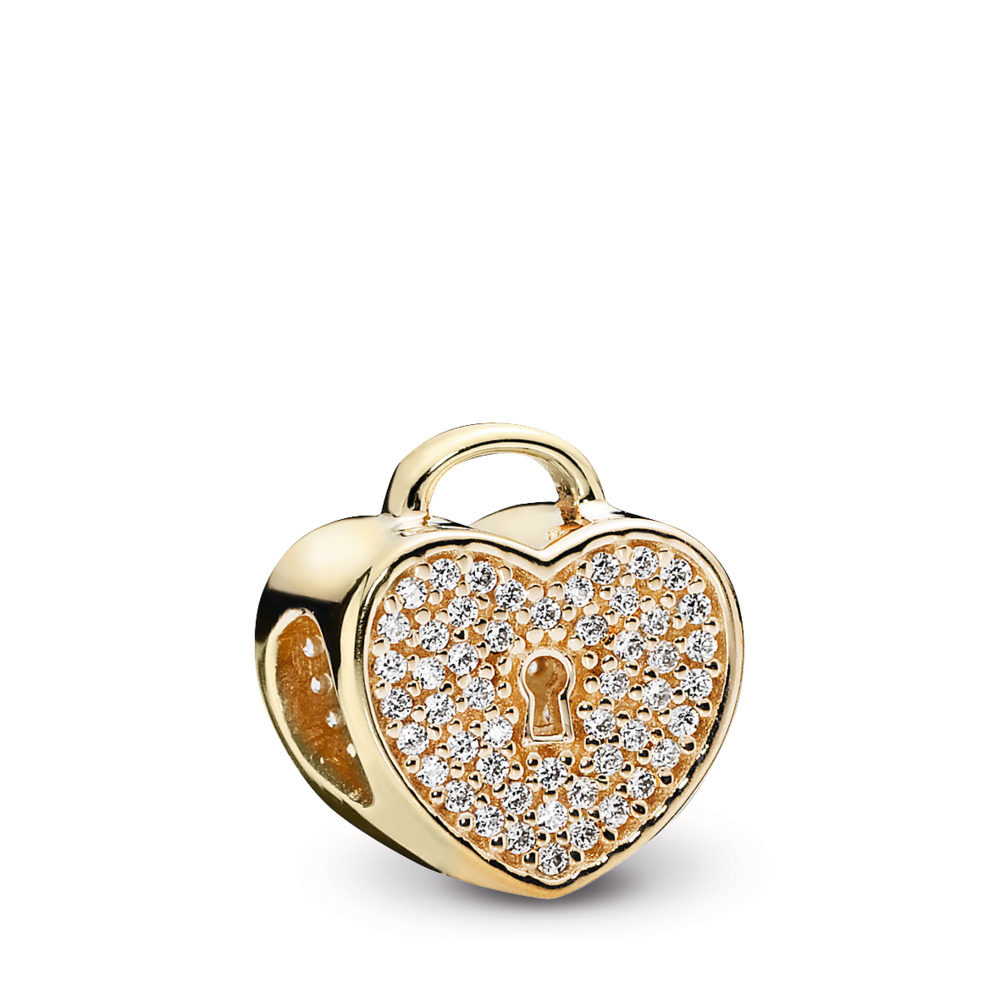 Heart Lock Charm, Clear CZ & 14K Gold, Yellow Gold 14 k, Cubic Zirconia - PANDORA - #750833CZ