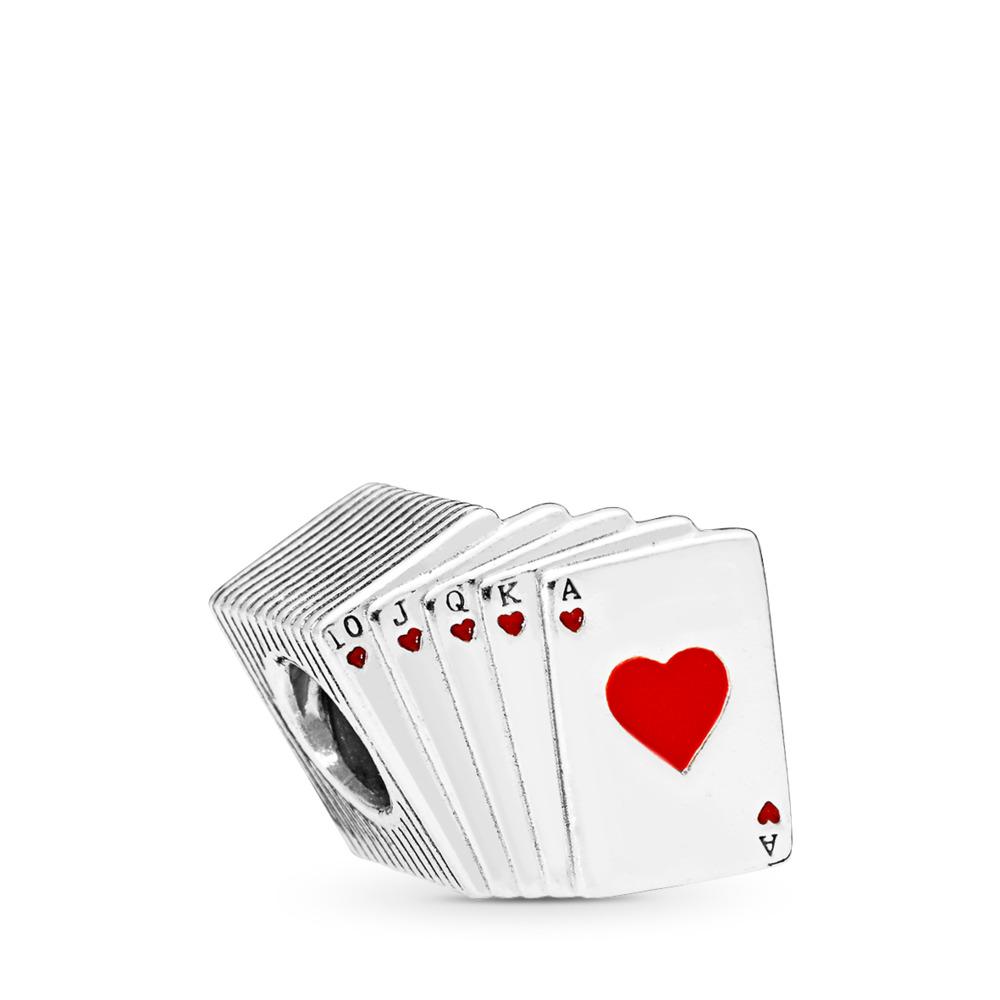 Playing Cards Charm, Red & Black Enamel, Sterling silver, Enamel, Red - PANDORA - #797195EN09