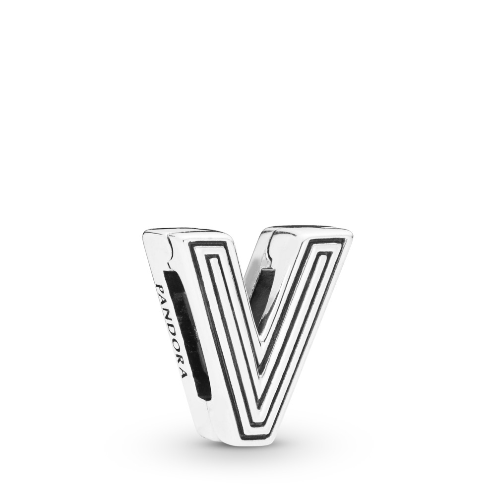 Pandora Reflexions™ Letter V Clip Charm, Sterling silver, Silicone - PANDORA - #798218