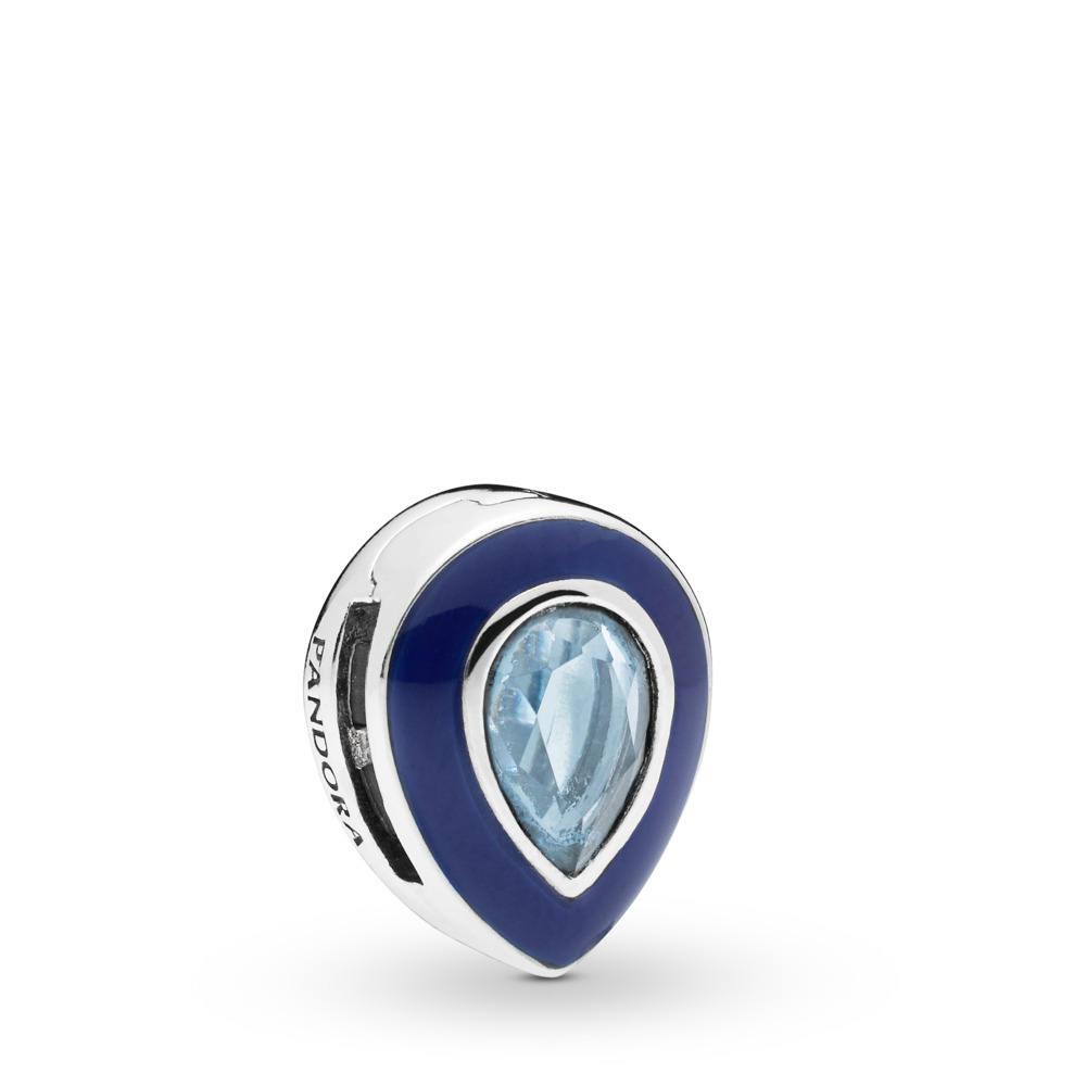 Pandora Reflexions™ Dazzling Blue Droplet Clip Charm, Sterling silver, Enamel, Blue, Crystal - PANDORA - #797889NMB