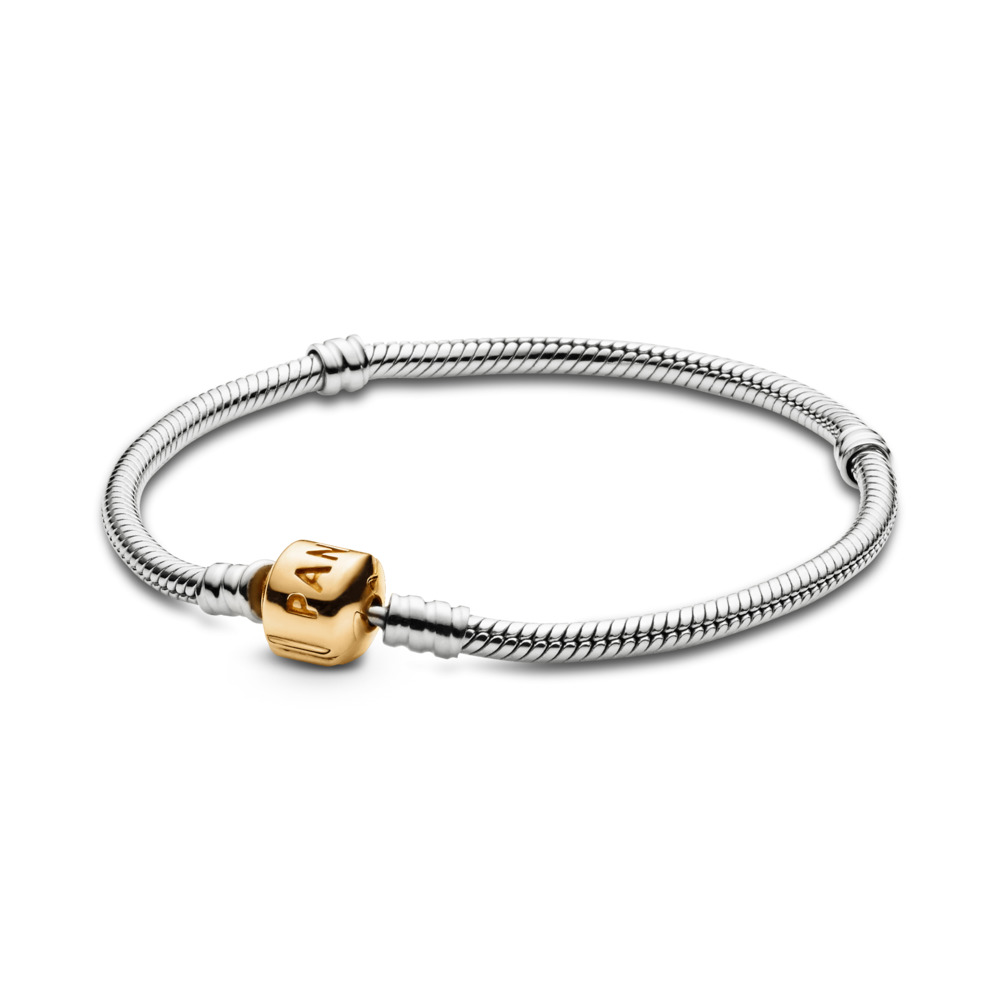 Silver Charm Bracelet With 14K Gold Clasp, Two Tone - PANDORA - #590702HG
