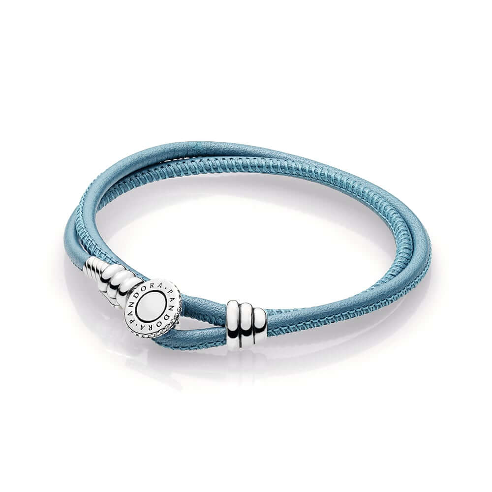 Turquoise Double Leather Bracelet, Clear CZ