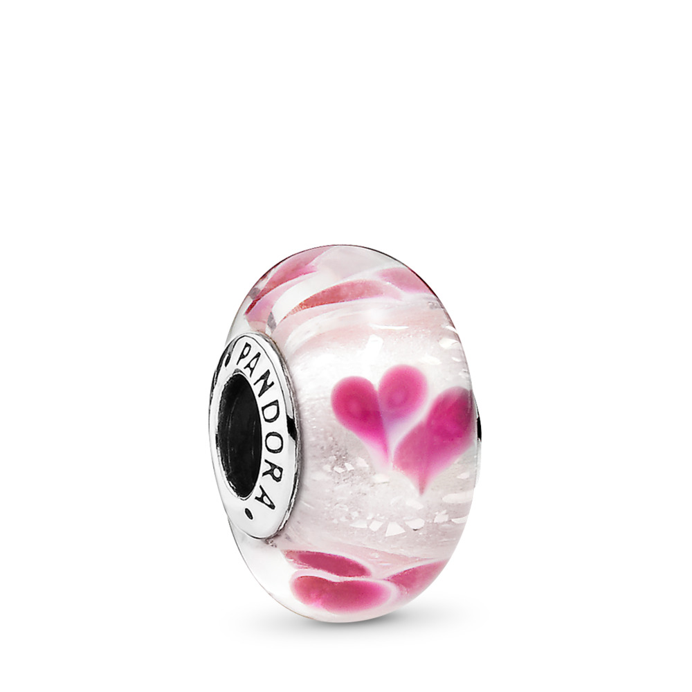 Wild Hearts Charm, Murano Glass, Sterling silver, Glass, Pink - PANDORA - #791649