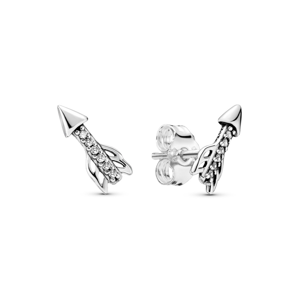 Sparkling Arrows Earrings, Clear CZ, Sterling silver, Cubic Zirconia - PANDORA - #297828CZ