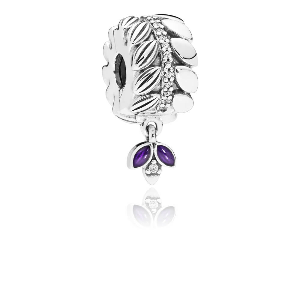 Grains of Energy Clip, Clear CZ & Purple Enamel