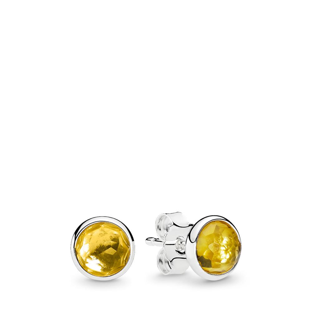 November Droplets Stud Earrings, Citrine, Sterling silver, Yellow, Citrine - PANDORA - #290738CI