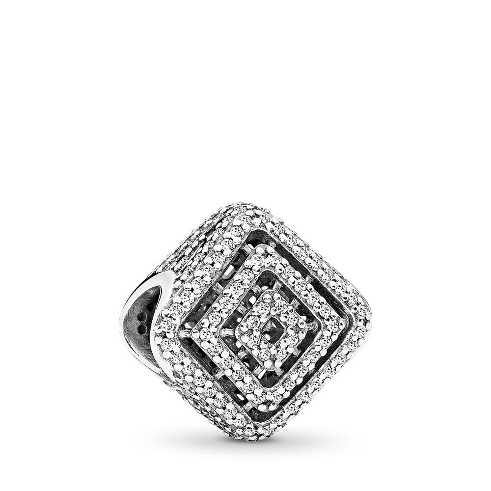 Geometric Lines Charm, Clear CZ, Sterling silver, Cubic Zirconia - PANDORA - #796211CZ