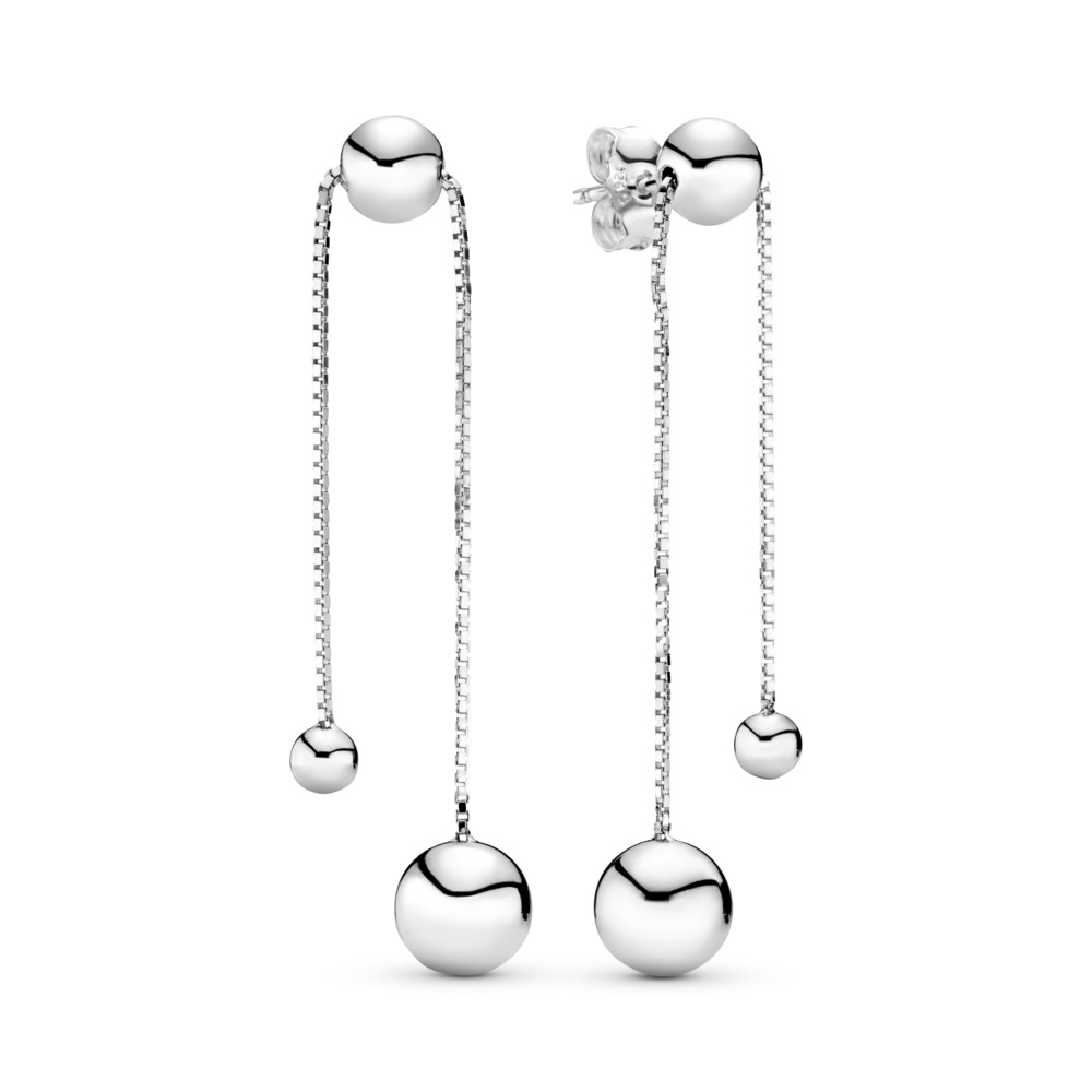String of Beads Dangle Earrings, Sterling silver, Silicone - PANDORA - #297535