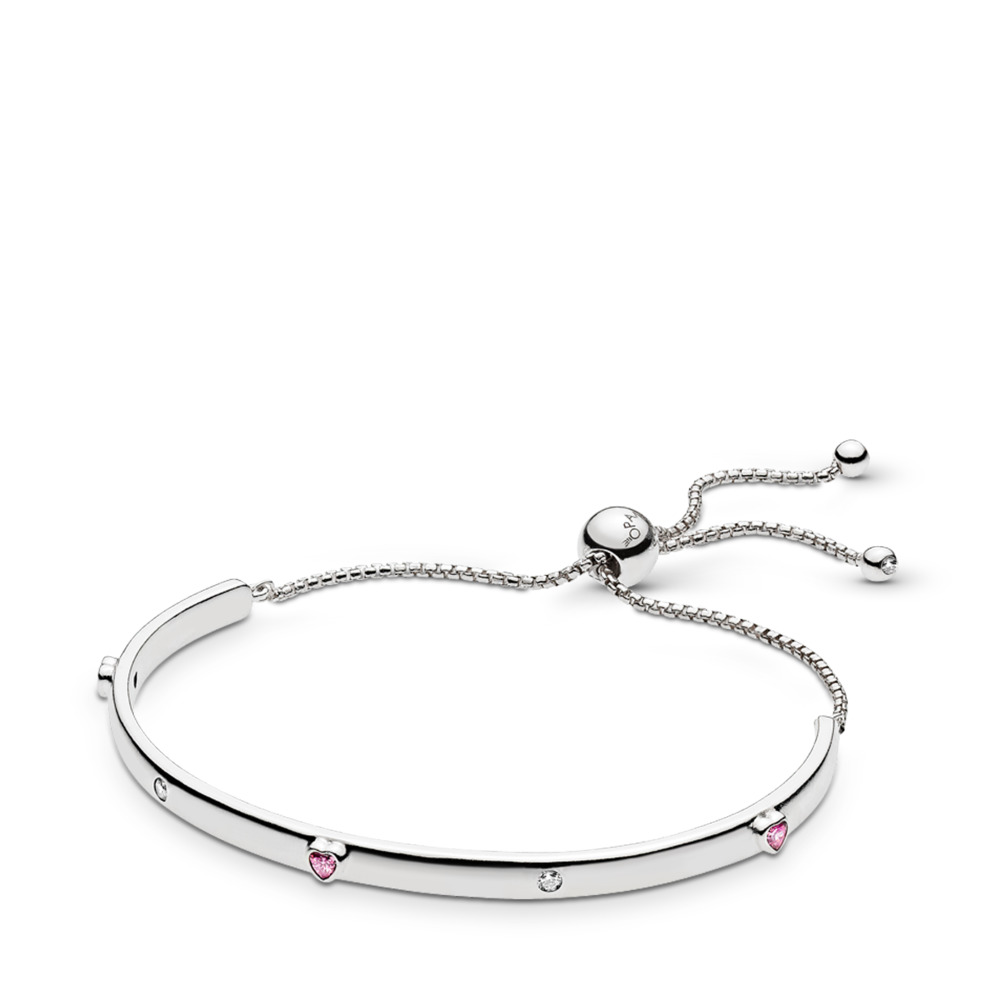Explosion of Love Bracelet, Fancy Fuchsia Pink & Clear CZ, Sterling silver, Silicone, Pink, Cubic Zirconia - PANDORA - #596585FPC