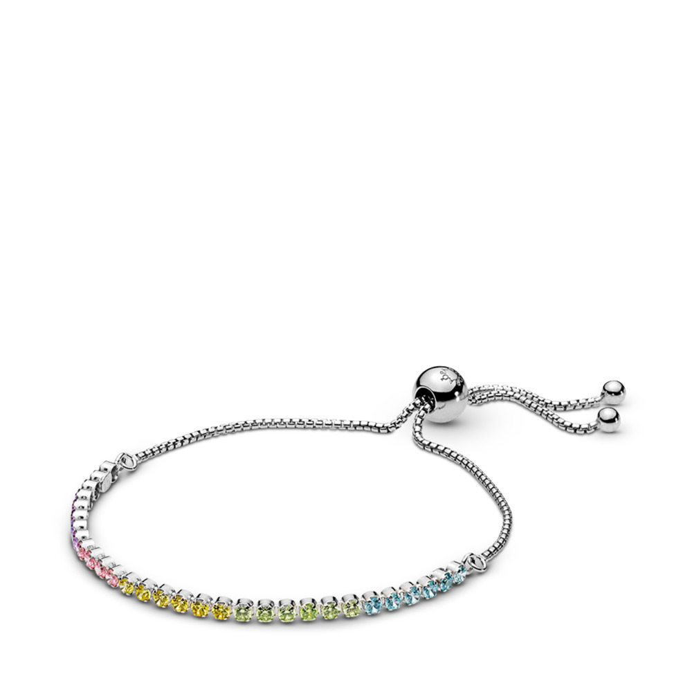 Multi-Color Sparkling Strand Bracelet, Multi-Colored CZ, Sterling silver, Silicone, Blue, Cubic Zirconia - PANDORA - #590524PCZMX