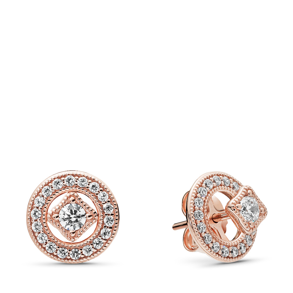 Vintage Allure Earrings, PANDORA Rose™ & Clear CZ, PANDORA Rose, Cubic Zirconia - PANDORA - #280721CZ