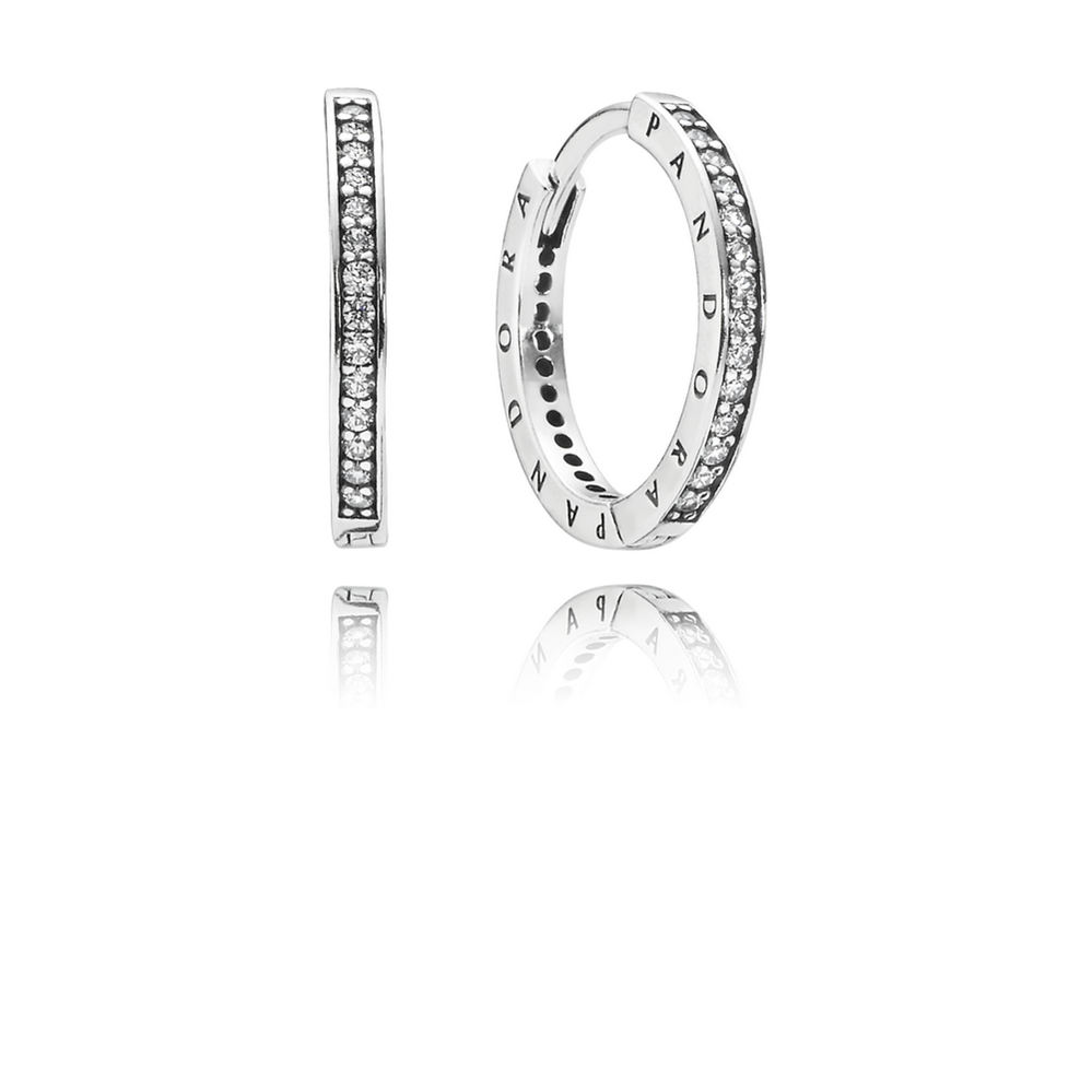 PANDORA Signature Hoop Earrings, Clear CZ