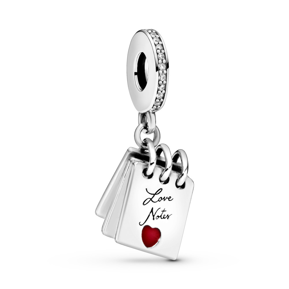 Love Notes Charm, Clear CZ & Crimson Red Enamel, Sterling silver, Enamel, Cubic Zirconia - PANDORA - #797835CZ