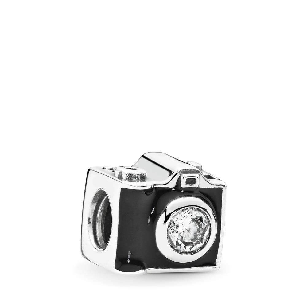 Sentimental Snapshots Charm, Clear CZ & Black Enamel, Sterling silver, Enamel, Black, Cubic Zirconia - PANDORA - #791709CZ