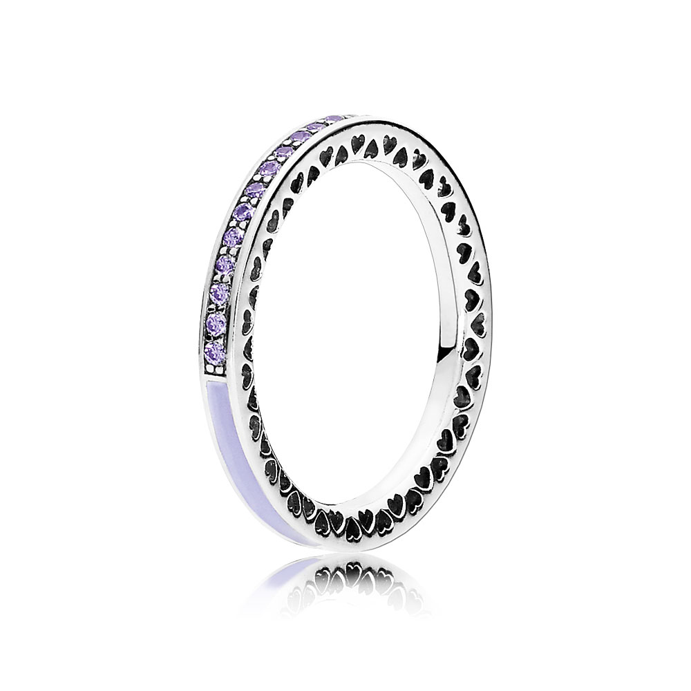 Radiant Hearts of PANDORA Ring, Lavender Enamel & Clear CZ