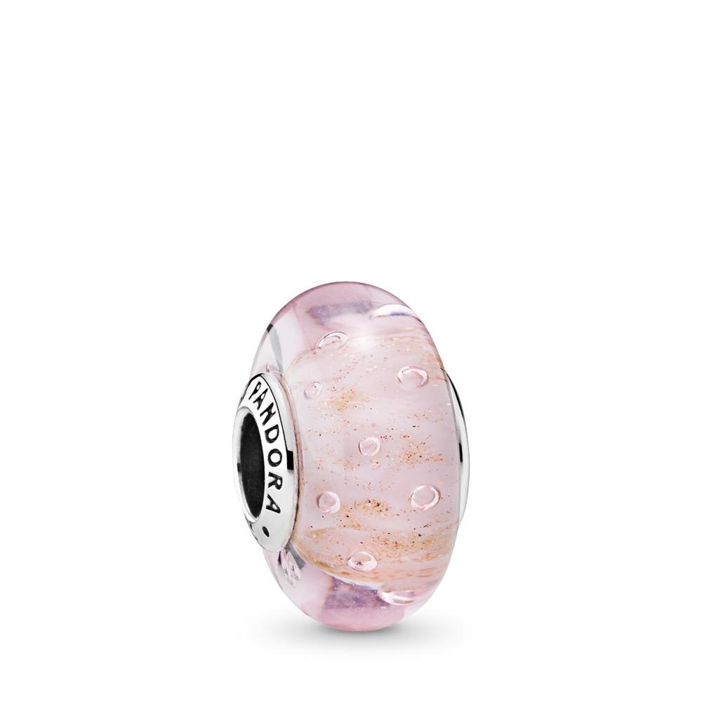 Pink Glitter Charm, Murano Glass, Sterling silver, Glass, Pink - PANDORA - #791670
