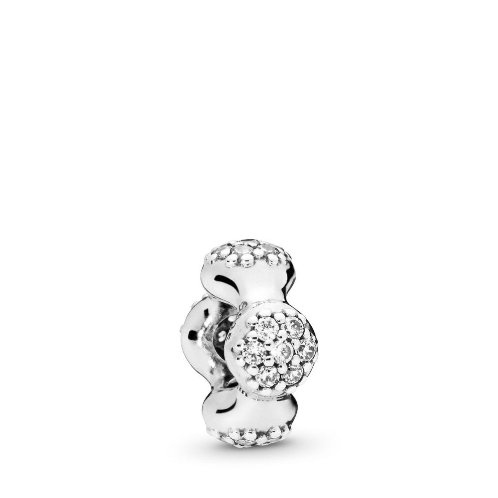 Modern LovePods™ Spacer, Clear CZ, Sterling silver, Cubic Zirconia - PANDORA - #797292CZ