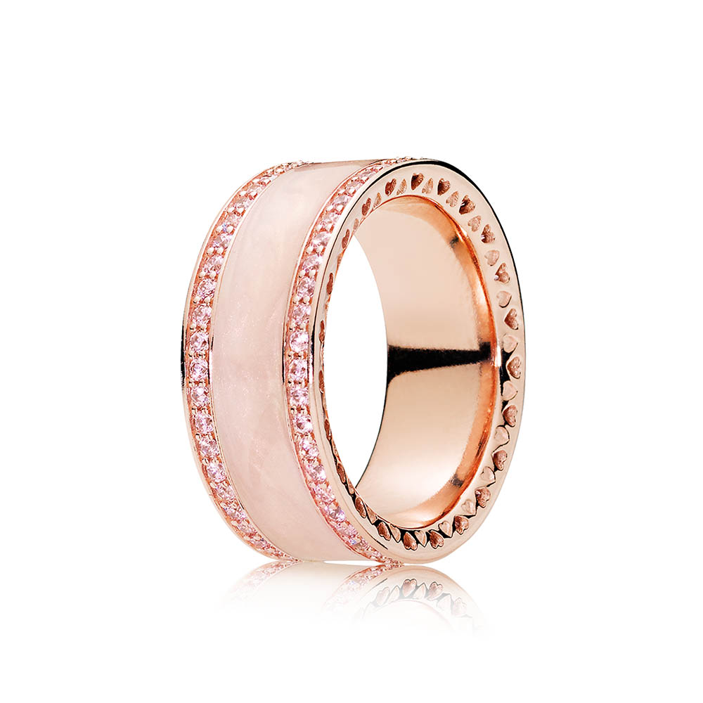 Hearts of PANDORA Ring, PANDORA Rose™, Cream Enamel & Clear CZ