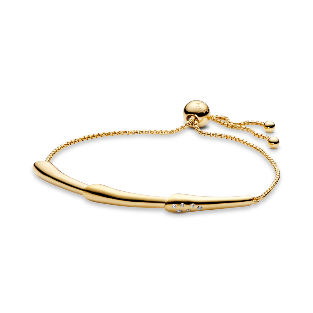 Flower Stem Sliding Bangle Bracelet, Pandora Shine™, 18ct Gold Plated, Silicone, Cubic Zirconia - PANDORA - #567917CZ