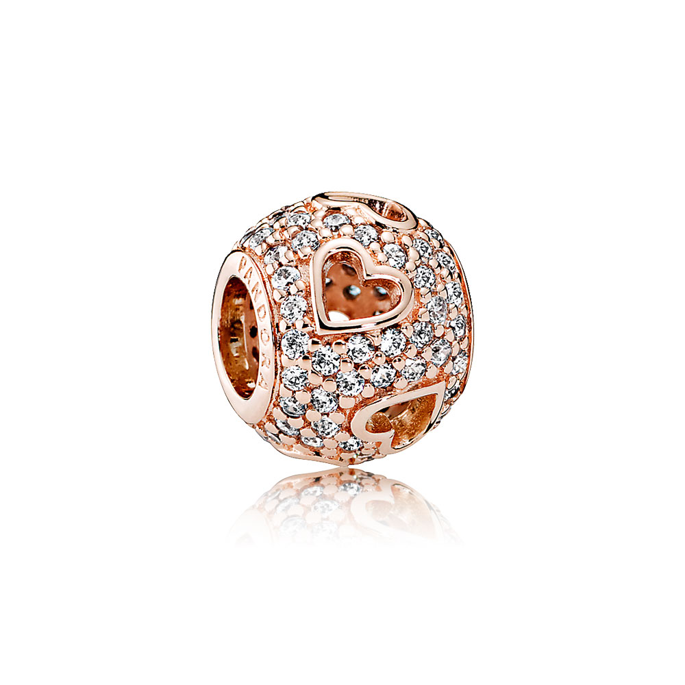 Tumbling Hearts Charm, PANDORA Rose™ & Clear CZ