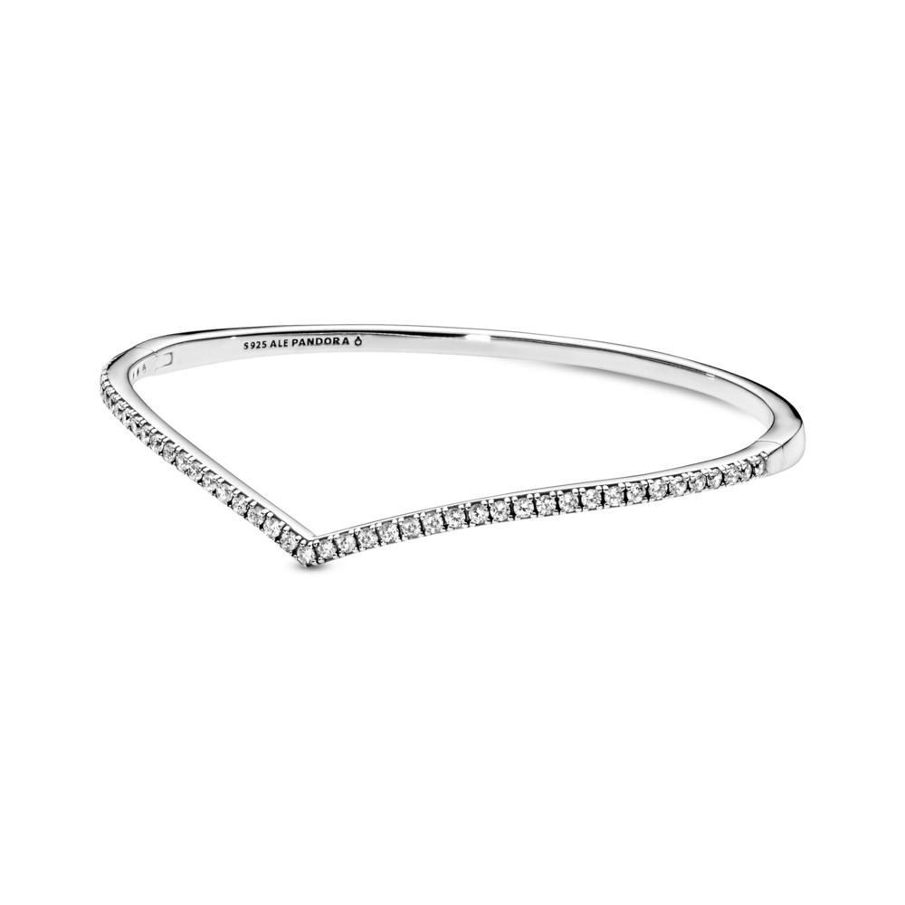 Shimmering Wish Bangle Bracelet, Clear CZ, Sterling silver, Cubic Zirconia - PANDORA - #597837CZ