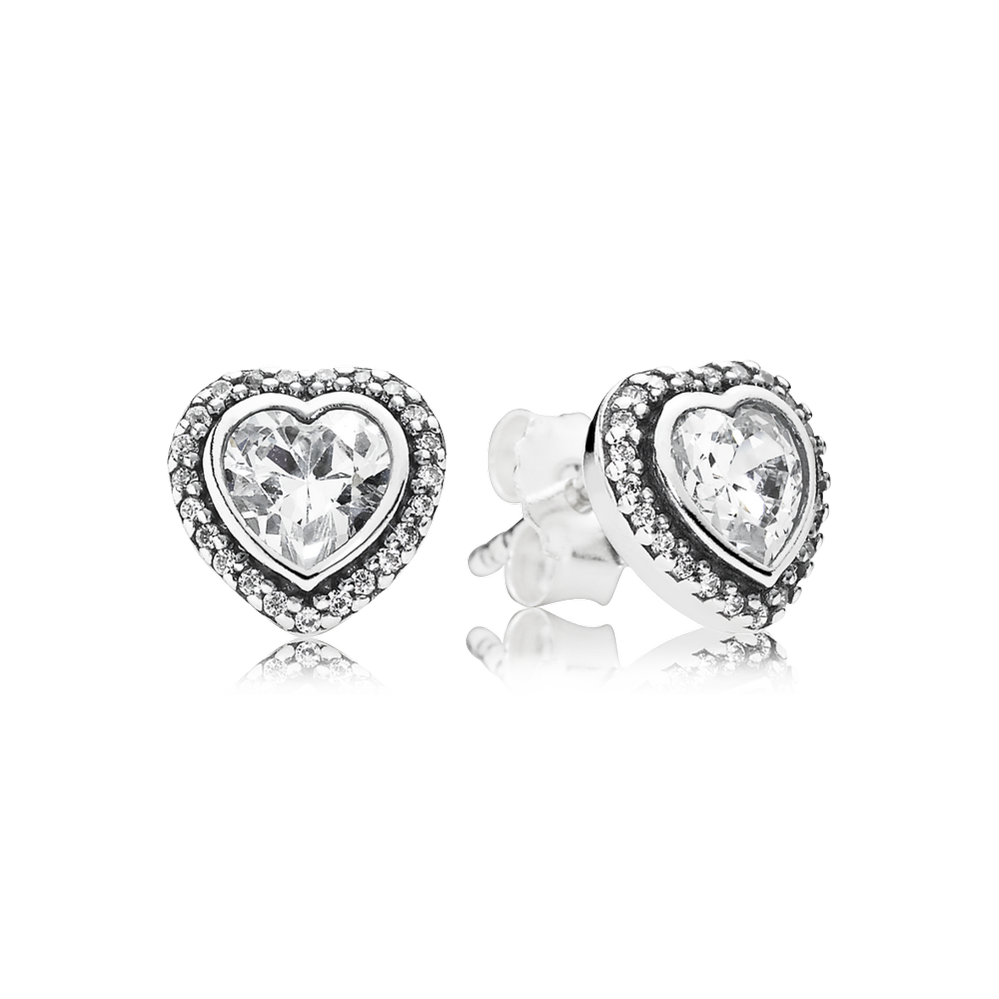 Sparkling Love Stud Earrings Clear Cz