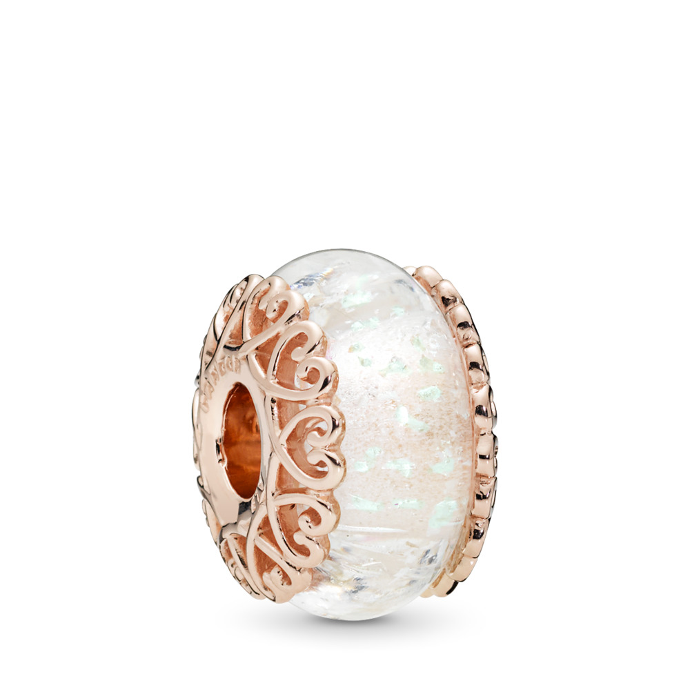 Iridescent White Glass Charm, PANDORA Rose™, PANDORA Rose, Glass, White - PANDORA - #787576