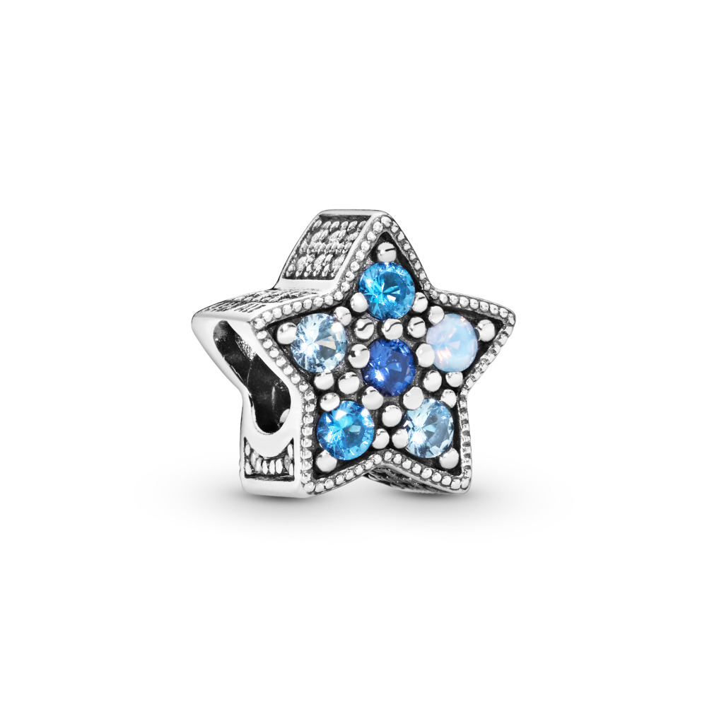 Bright Star Charm, Multi-Colored Crystals, Sterling silver, Blue, Mixed stones - PANDORA - #796379NSBMX