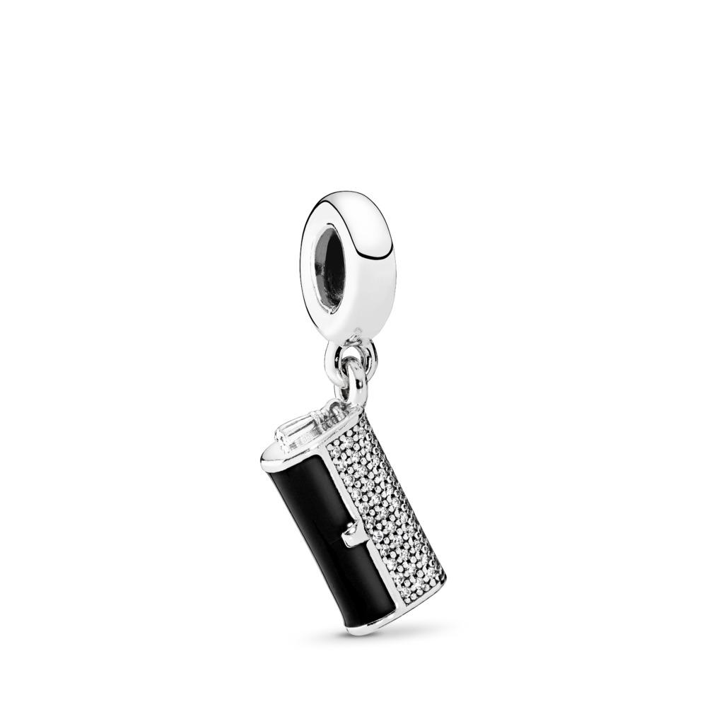 Clutch Bag Dangle Charm, Black Enamel & Clear CZ, Sterling silver, Enamel, Black, Cubic Zirconia - PANDORA - #792155CZ
