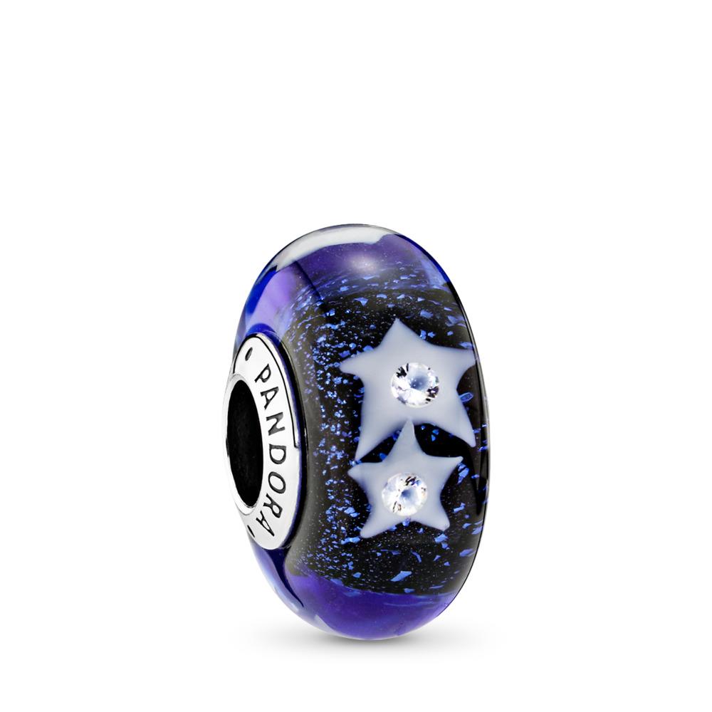 Starry Night Sky Charm, Murano Glass & Clear CZ, Sterling silver, Glass, Blue, Cubic Zirconia - PANDORA - #791662CZ