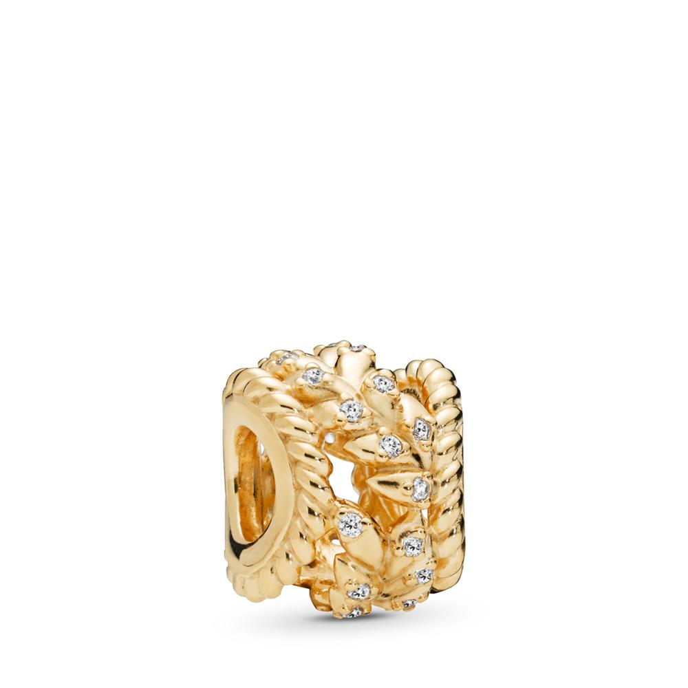 Dazzling Grain Swirls Charm, PANDORA Shine™ & Clear CZ, 18ct Gold Plated, Cubic Zirconia - PANDORA - #767597CZ