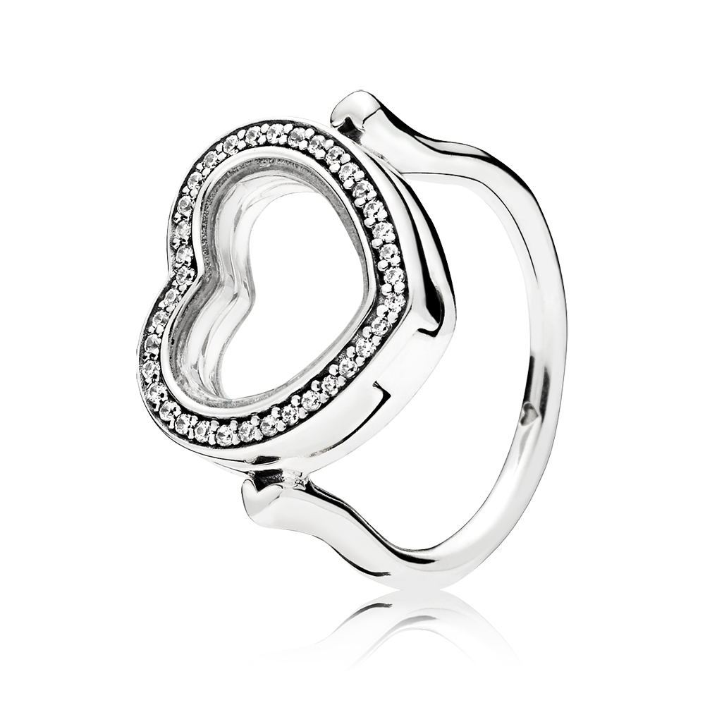 Sparkling PANDORA Floating Heart Locket Ring, Clear CZ
