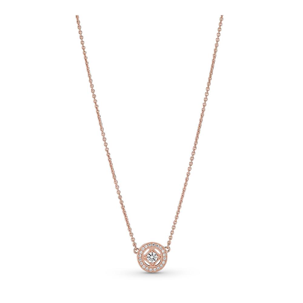 Vintage Allure Necklace, PANDORA Rose™ & Clear CZ, PANDORA Rose, Cubic Zirconia - PANDORA - #380523CZ