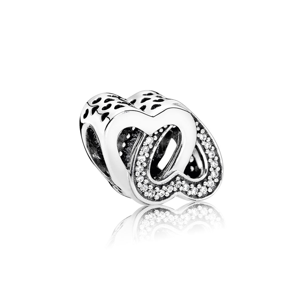 Entwined Love Charm, Clear CZ