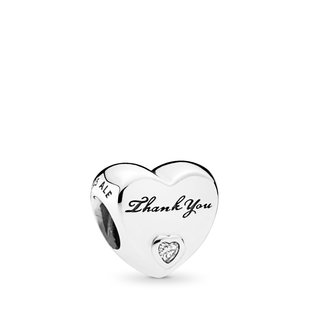 Thank You, Clear CZ, Sterling silver, Cubic Zirconia - PANDORA - #792096CZ