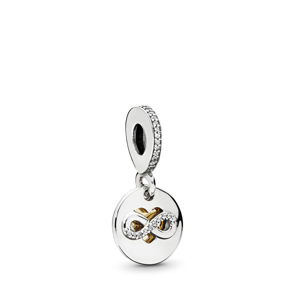 Heart of Infinity Dangle Charm, Clear CZ, Two Tone, Cubic Zirconia - PANDORA - #796200CZ