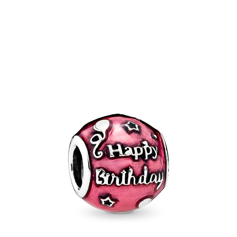 Birthday Celebration Charm, Transparent Cerise Enamel, Sterling silver, Enamel, Pink - PANDORA - #791983EN117