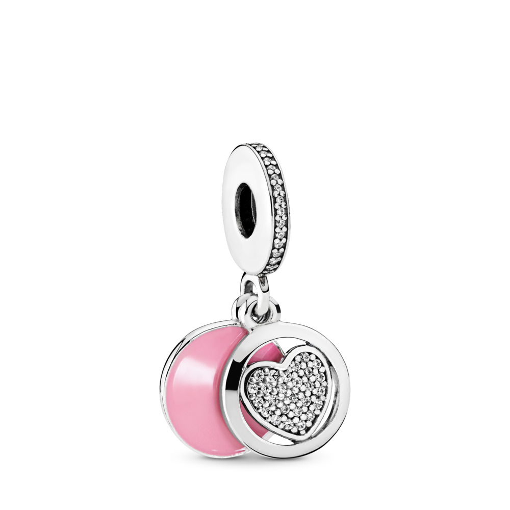 Devoted Heart Dangle Charm, Pink Enamel & Clear CZ, Sterling silver, Enamel, Pink, Cubic Zirconia - PANDORA - #792149EN24