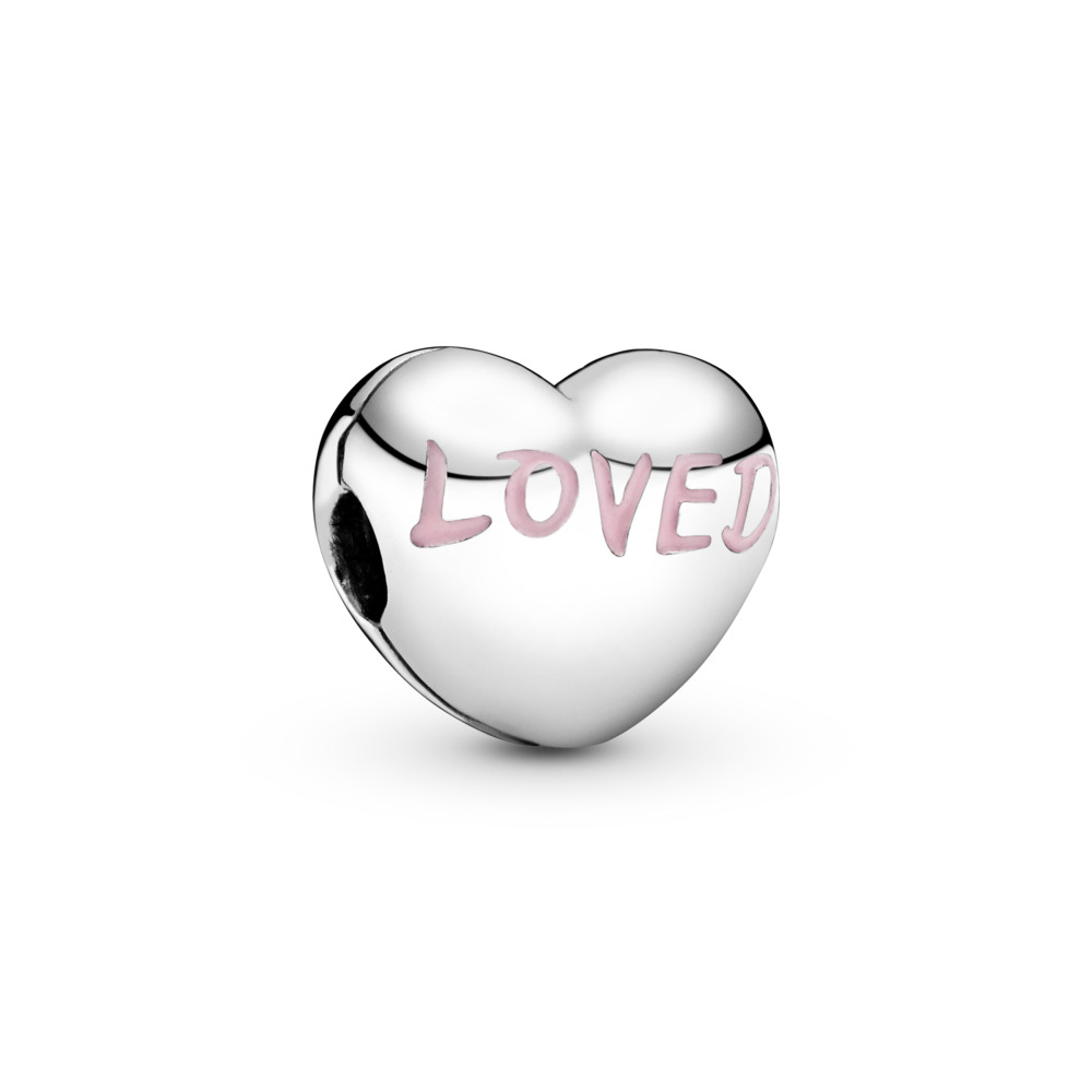 Loved Heart Charm, Powder Pink Enamel, Sterling silver, Enamel - PANDORA - #797807EN124