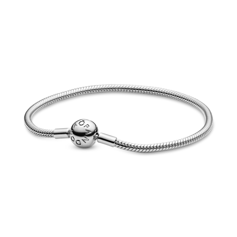Smooth Silver Clasp Bracelet, Sterling silver - PANDORA - #590728