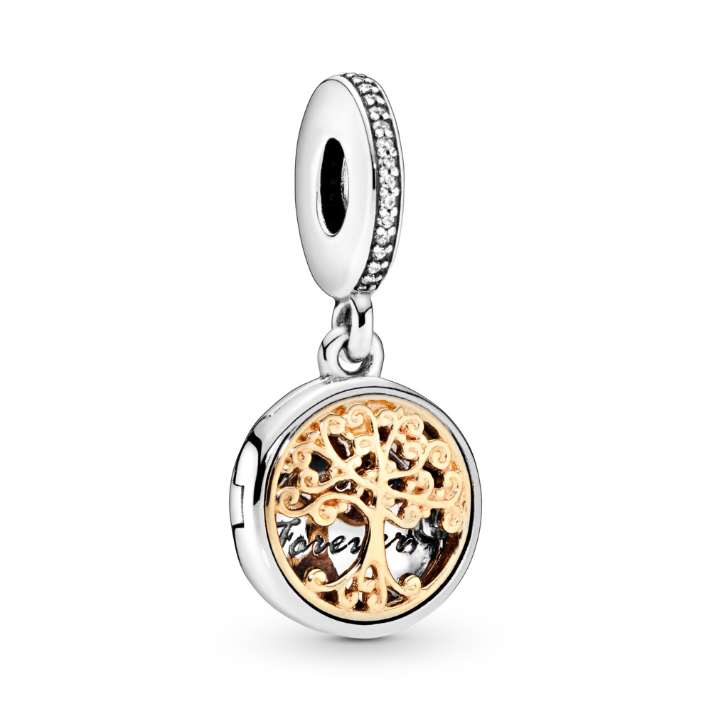 Family Roots Dangle Charm, Clear CZ, Two Tone, Cubic Zirconia - PANDORA - #791988CZ