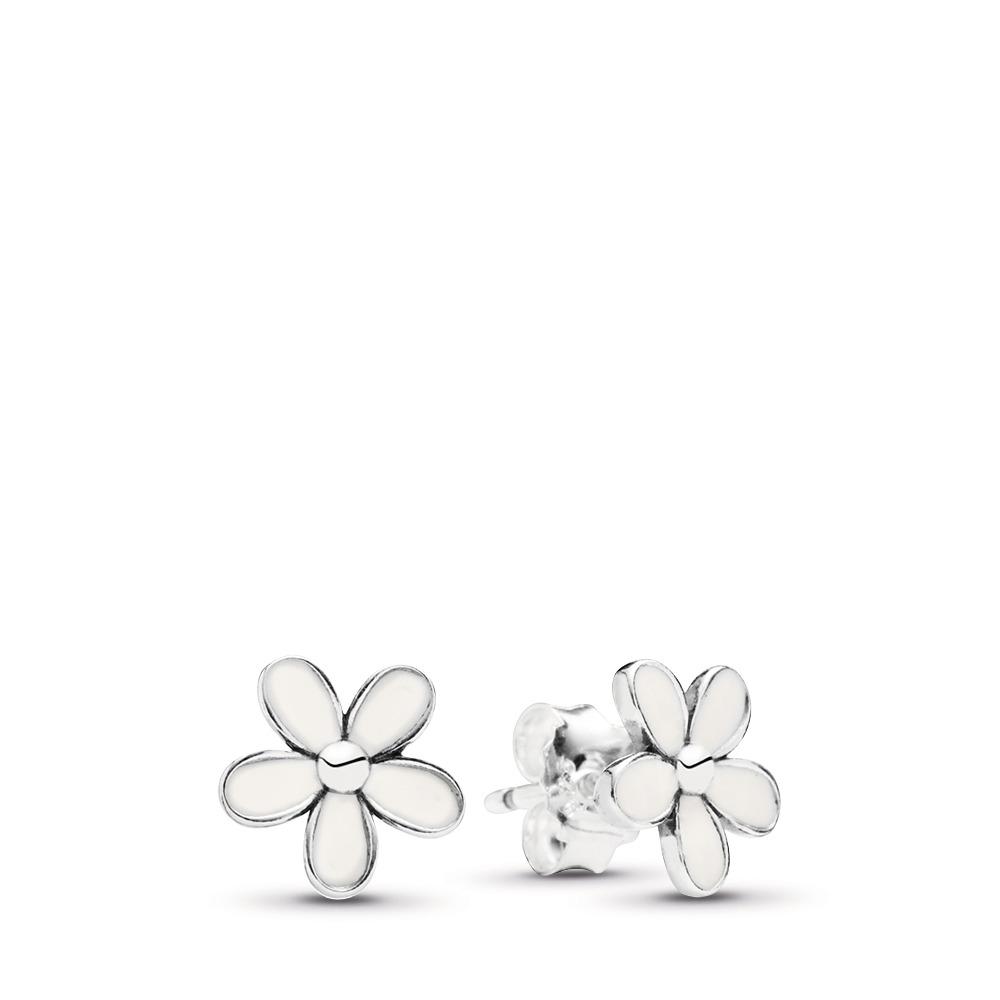 ff4163e62 Darling Daisies Stud Earrings, White Enamel, Sterling silver, Enamel, White  - PANDORA