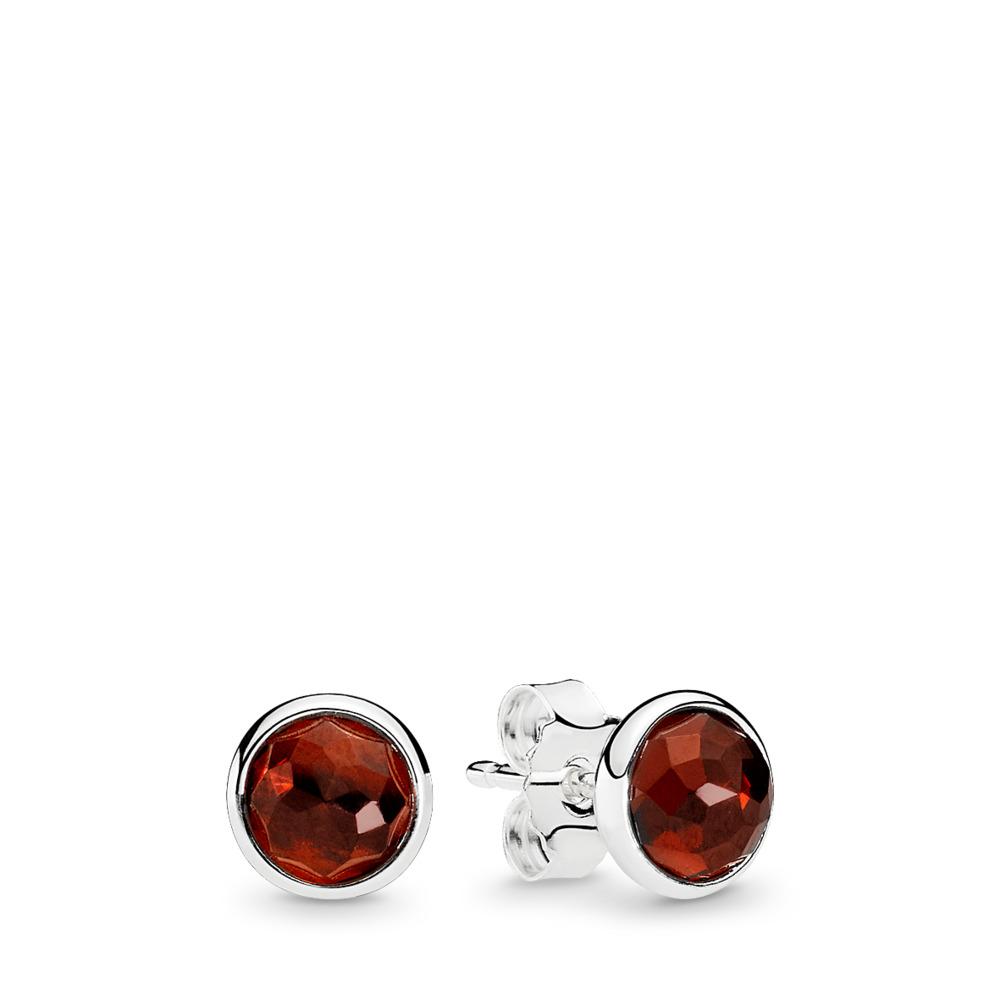 January Droplets Stud Earrings, Garnet, Sterling silver, Red, Garnet - PANDORA - #290738GR